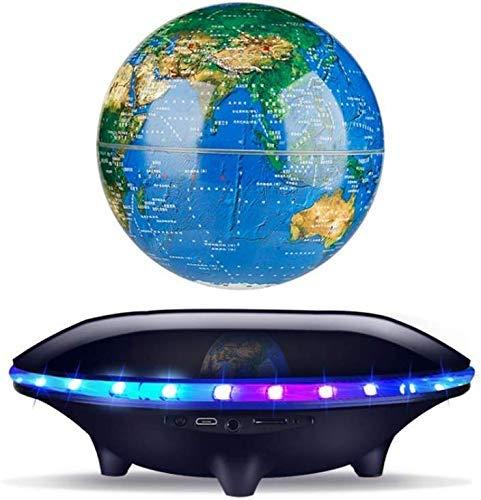 JJDSN Zwevende wereldbol, zwevende wereldbol met ledlampen, magneetveldzweving, wereldkaart, zwaartekracht, pedagogisch thuiskantoor, bureaudecoratie, met bluetooth-luidspreker,