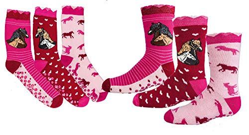 TippTexx 24 6 Paar Ökotex Kinder Stoppersocken, ABS Socken für Mädchen und Jungen, Strümpfe mit Noppensohle, viele schöne Muster (Romantik Pferd, 35-38)