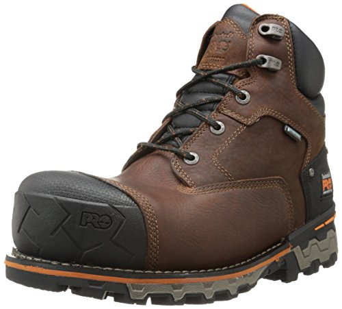 Timberland PRO Men's 6 Inch Boondock Comp Toe Waterproof Insulated Industrial Work Boot,Brown Tumbled Leather,10 M US