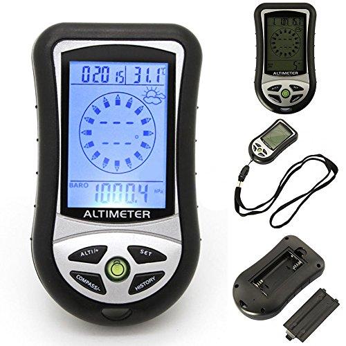 LYCOS3 8 in 1 Digitaler Kompass LCD Höhenmesser Barometer Thermometer Outdoor Barometer Thermo Temperatur Wettervorhersage Kalender Uhr