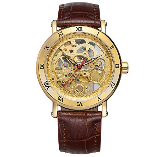 GJHBFUK Reloj de Hombre Mecánica Automática Hueco Impermeable PU Marrón Correa De Cuero Reloj Hombre Dial Oro Reloj Romano Reloj