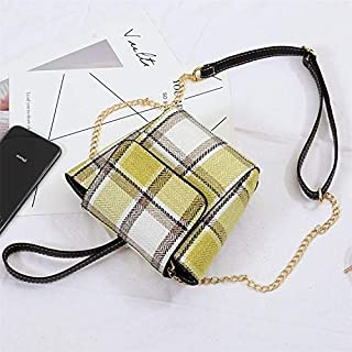 Fashion Single-Shoulder Bags Plaid Texture Leisure Fashion PU Leather Chain Slant Shoulder Bag Handbag (Black) (Color : Yellow)
