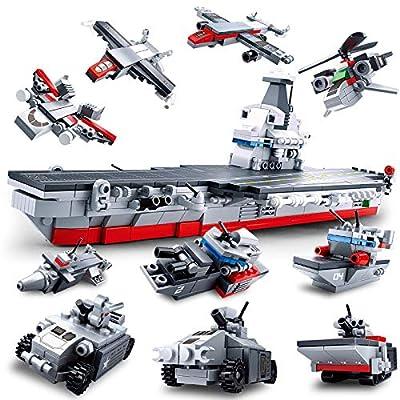 SlubanKids Creative Building Blocks Set | Imaginative Indoor Games Toys for Kids | Mega Army Aircraft Carrier, Mega Fighter Set and More