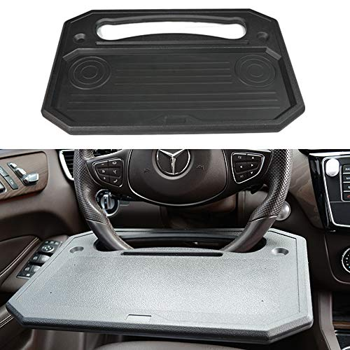 Auto Steering Wheel Desk,Available on both sides Car Laptop Desk,Multi-Functional Portable iPad,Notebook Car Travel Table,Food Steering Wheel Tray For Most Vehicles Steering Wheels,Best gift (Black)