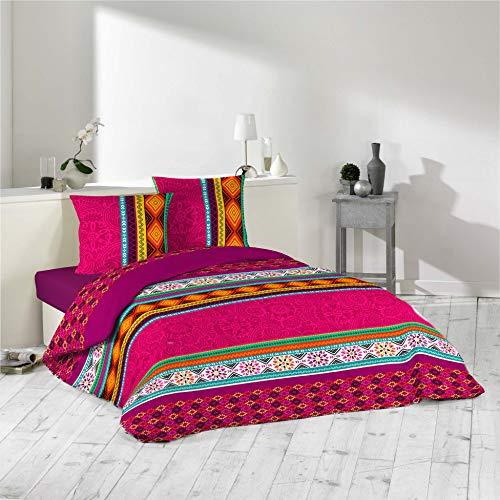 Dynamic24 3tlg Bettwäsche 240x220 Azteken Fuchsia bunt Bettdecke Übergröße Bett King Size