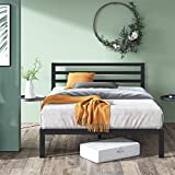14 Inch Metal Platform Bed Frame with Headboard - Wood Slat Support, No Box Spring Needed, Underbed Storage Space, Easy Assembly (Queen)