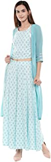 W for Woman Women's Georgette Straight Salwar Suit Set