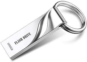 Metal USB Flash Drive 1000GB Thumb Drive Pen Drive Waterproof Memory Stick with Keychain (Silvery)