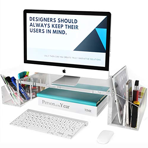 IMLIB Acrylic Monitor Stand Riser for Desk Countertop, Clear Monitor Storage Stand with Side Compartments Pockets and Cable Management for Home and Office, L 22.9' X W 10' X H 4.7'