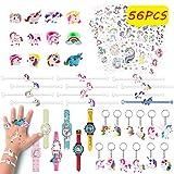 Pachock 56pcs Regalos piñatas de cumpleaños Infantiles Incluye llaveros de Unicornio,Pulseras ,Anillos , Tatuajes temporales, de Infantiles del Partido Favor Juguetes de Fiesta a Granel