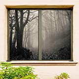 Gothic Decor Collection 3D Customized Window Film 2 PCS Set Cloudy Gray Privacy Window Film Etched Flowers Static Cling Glass Door 29.5' x 63' x 2 Pcs