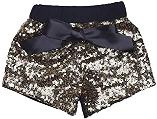 ILTEX Baby Girls Sequin Short- Toddlers Sparkle Short Sequin Pants with Bow