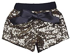 Black With Gold Sequin Short Pants with Bow