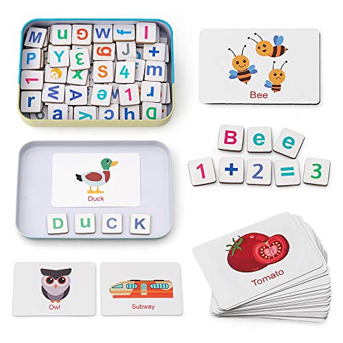 Coogam Holz Magnetbuchstaben und Zahlen Spielzeug, Kühlschrank ABC Alphabet Wort Karteikarten Rechtschreibung Zählspiel Lernen Großbuchstaben Mathematik für 3 4 5 Jahre altes Kind