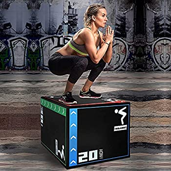 Holleyweb 3 in 1 Foam Plyometric Jump Box 20 x24 x30  Jump Training & Conditioning-Plyo Jump Box for Jump Training Fitness Workout Exercise Black