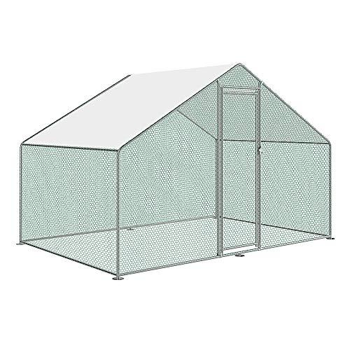 Aufun Recinto per pollaio con serratura, telaio in acciaio zincato, ombreggiatura rivestita in PVC, tetto per pollame, gabbia per uccelli, piccoli animali, 3 x 2 x 2 m