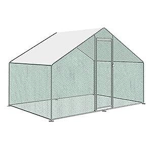 Froadp Hühnerstall Hühnerhaus Dach Geflügelstall 3 x 2 x 2 m Verzinkter Stahlrahmen mit PE