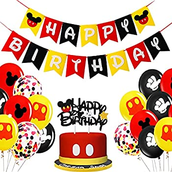 JUYRLE Mickey Birthday Decorations - Mickey Mouse Birthday Party Supplies Mickey Inspired Happy Birthday Banner Cake Topper with Gold Star White Gloves for Boys 1st and 2nd Birthday