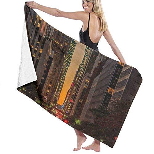 Elsaone Toallas de Playa New York Street Toalla de Manta de Playa Grande Toalla de baño Ultra Suave y Altamente Absorbente de Gran tamaño 32 x 52 Pulgadas