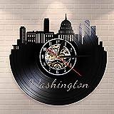 YINU Seattle Washington City Skyline 3D Reloj de Pared de Cuarzo Torre Capital...