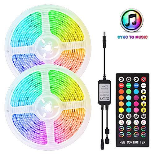 LED Strip 10m, RGB LED Stripes Sync mit Musik, IP65 wasserdichte LED Streifen Timerfunktion, Ein-Tasten-Dimmen für Weihnachten Feiertage Heim Küche Auto Dekoration