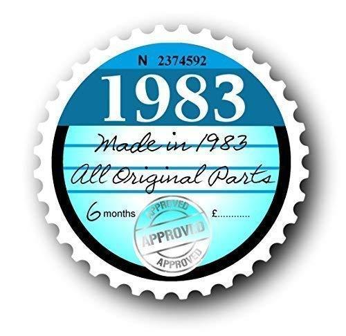 Sticar-It Ltd Retro 1983 Pegatina Impuesto Recambio Vintage Clásico Adhesivo Vinilo para Auto Placa 75x75mm Aprox.