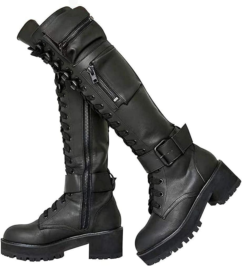 Huntarry Women Buckle Combat Platform Ranking TOP3 Boots Indefinitely Lace M Block Heel Up