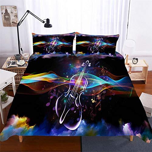 HGFHGD Bettwäsche-Set für Doppelbett, Motiv: Gitarre, Musikserie, 3D, für Jungen und Mädchen, groß, Schwarz, 3-teiliges Set