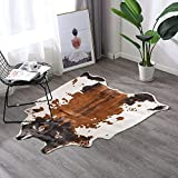 TextilerfromChina Cow Print Rug 4.1x4.2 Feet Faux Cow Hide Rug Animal...