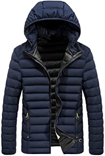 Houshelp Men's Winter Warm Lined Coat with Hood Classic Hooded Jacket Fashion Men Casual Padded Cotton Thick Outwear