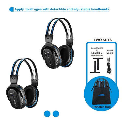 SIMOLIO 2 Pack of Wireless Car Headphones, Kid-Friendly Automotive IR...