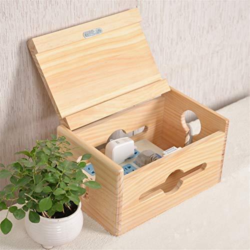 Insun Kabelbox Holz Handgemacht, Aufbewahrungsbox für Kabel und Steckdosenleiste, Kabelmanagement Box, Kabel Organizer Lackiertes Kiefernholz 28x18x15cm