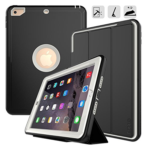 DUNNO iPad 9.7 2017/2018 case Heavy Duty Full Body Rugged Protective Case with Auto Sleep/Wake Up Stand Folio & Three Layer Design for Apple iPad 9.7 inch 2017/2018 (Black+Gray)