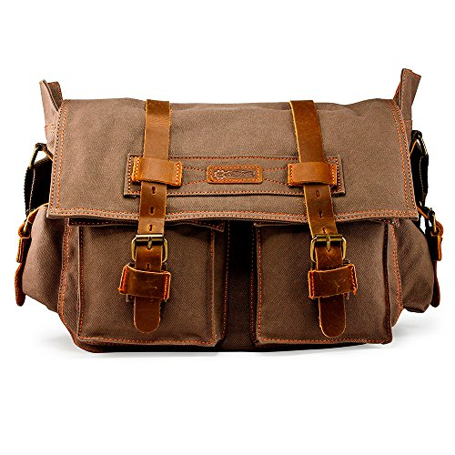 GEARONIC Mens Canvas Leather Messenger Bag for 14' 15' 17' Laptop Vintage...