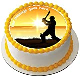 Decoración comestible para tartas de críquet al atardecer de 19 cm con glaseado redondo e impreso con tu saludo personalizado