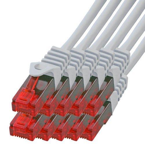 BIGtec - 10 Stück - 3m Gigabit Netzwerkkabel Patchkabel Ethernet LAN DSL Patch Kabel grau (2X RJ-45 Anschluß, CAT.5e, kompatibel zu CAT.6 CAT.6a CAT.7) 3 Meter