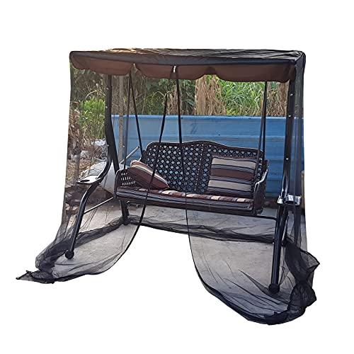 QLINDGK - Zanzariera per patio a dondolo, in poliestere con apertura a cerniera e tetto impermeabile, copertura a baldacchino in rete (3 persone)