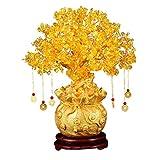 YANGB Piedra de Masaje 19cm Natural Crystal Tree Dinero Árbol Adornos Bonsai Estilo Riqueza Suerte Feng Shui Ornamentos Decoración para el hogar (con Monedas de Oro y Base)
