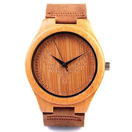 Kim Johanson Herren Bambus-Holz Armbanduhr *Wild Deer* in Braun mit Echtem Lederarmband Handgefertigt Quarz Analog Uhr inkl. Geschenkbox