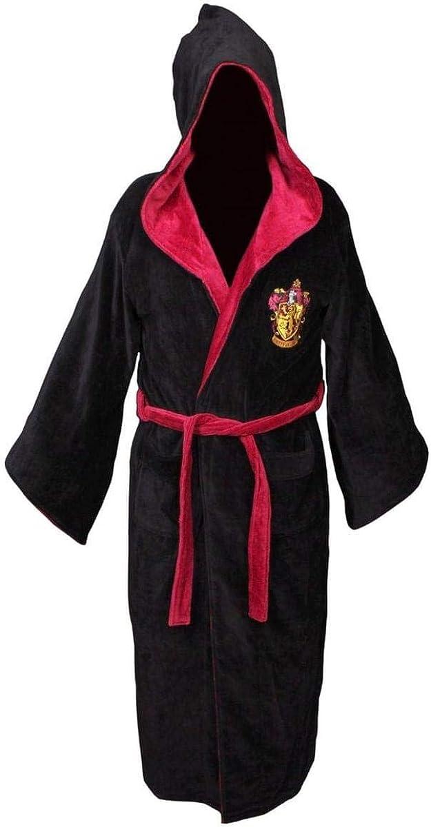 Harry Potter Gryffindor Adult Cotton Hooded Bathrobe Black