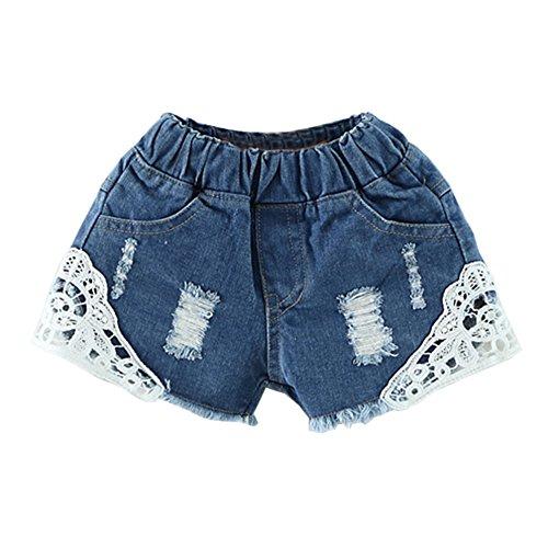 Mädchen Kurze Hose Jean Short Jeansshorts Mit Spitze Lochjeans Jeans Hot Pants Dunkelblau 150