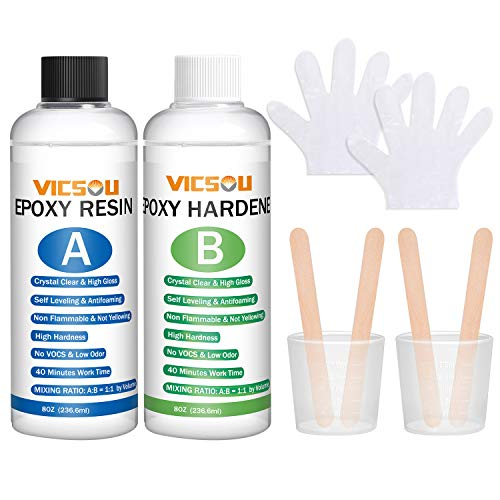Epoxy Resin and Hardener Kit, 16OZ Clear Crystal Coating Kit for Art, Crafts,Tumblers, Jewelry Making, River Tables,Easy Cast Resin Bonus with 4pcs Sticks, 2pcs Graduated Cups, 2 Pairs Gloves