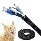 manguera cable negro,conducto cable 3m,12-20mm, organizador cables con cierre automático Se puede cortar y reutilizar protección cable para proteger a los niños y evitar las mordeduras de mascotas.