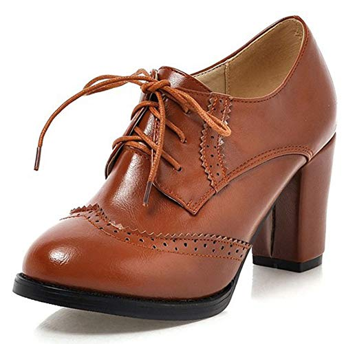 Vimisaoi Oxford Shoes for Women, Vintage Lace-up Wingtips Chunky High Heel Saddle Shoes Dress Pump Shoes