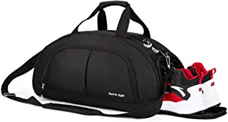 Sports Gym Bag with Wet Pocket & Shoes Compartment,Waterproof Travel Weekender Swim Camping Hiking Sports Gym Travel Duffel Bag for Men & Women(Black)