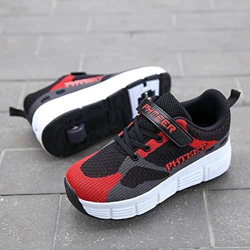 XRDSHY Zapatos para Niños con Rollos Doble Ruedas Zapatos De Patinaje Retráctiles para Niños para Niños Y Niñas Zapatos De Ruedas,Red-34 EU