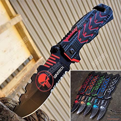 KCCEDGE BEST CUTLERY SOURCE EDC Pocket Knife Camping Accessories Razor Sharp Edge Alien Tech Punisher Folding Knife Camping Gear Survival Kit 58014 (Red)