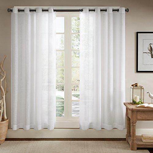Ösenschal Voile Vorhang in Leinen-Optik Leinenstruktur Ösenvorhang Gardine mit Ösen Solid Sheer Wohnzimmer Elegant, Off White (2er-Set, je 245x140cm)