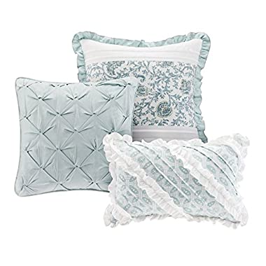 Madison Park Dawn Duvet Cover Cal King Size - Aqua, Floral Shabby Chic Duvet Cover Set – 9 Piece – 100% Cotton Percale Light Weight Bed Comforter Covers