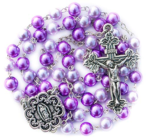Big A Solutions Rosary Beads Catholic - Rosario - Handmade - Blue Rosary - Purple Rosary - Pink Rosary - Imitation Pearl - Free Velvet Pouch - Catholic Gift idea Easter Gift